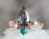 Natural Rose Cut Black Diamond + Turquoise Sunburst Ring