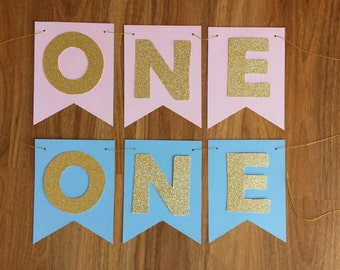 Gold Glitter Birthday Boy Girl Custom Made ONE  Banner High Chair  Smash Cake Photo Shoot Bunting Banner Birthday Decoration