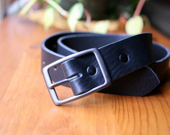 Custom Black Leather Belt