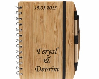 Personalized Recycled Bamboo Notebook and Pen Set / Custom Name Engraved