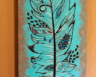 Feather Canvas Painting with cut out details