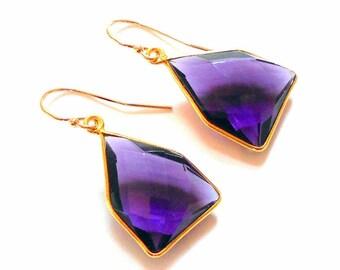 Amethyst Gold Earrings earthegy #1176
