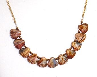 Brown Cream Blue Peacock Shell Czech Glass Beads and Gold Choker Necklace