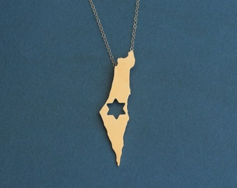 Israel Map Necklace with Star of David, Isreal Jewelry, Golden State Necklace, Magen David, Israel Necklace, Israel Charm, Israel Pendant