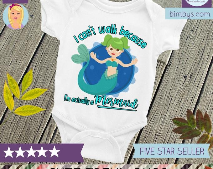 Mermaid Infant Bodysuit, I'm A Mermaid Baby Nappy , Cute Mermaid Baby Bodysuit, Actually Im a Mermaid Baby Clothes, Funny Baby Onsie