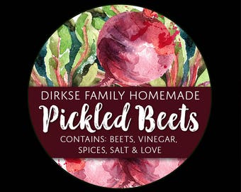 Customized Label - Pickled Beets, Watercolor Style Canning Jar Label - Wide Mouth & Regular Mouth - Watercolor Beet Label