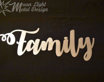 Family Metal Sign / Family Script Sign / Gather Metal Wall Art / Home Decor / Wall Decor