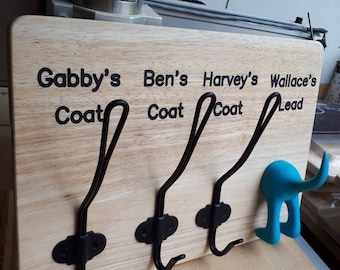 Personalised dog lead and coat hook board