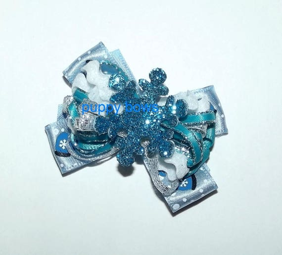 Puppy Bows ~ January snow bow blue teal glitter snowflake  pet hair bow bands or barrette (fb61)