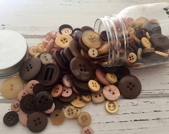 """Hand Dyed Buttons, """"Warm Cocoa"""", Mixed Buttons, 200 Buttons, Plastic Mini Mason Jar by Buttons Galore, 2 & 4 Hole Assortment"""