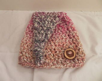 """15"""" MULTICOLOR Top Knot Hat 3 Month Size RTS"""
