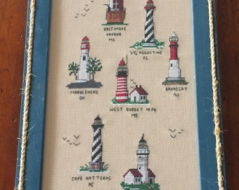 cross stitch embroidered collection lighthouses framed