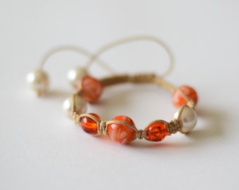 Shamballa beige and orange bracelet
