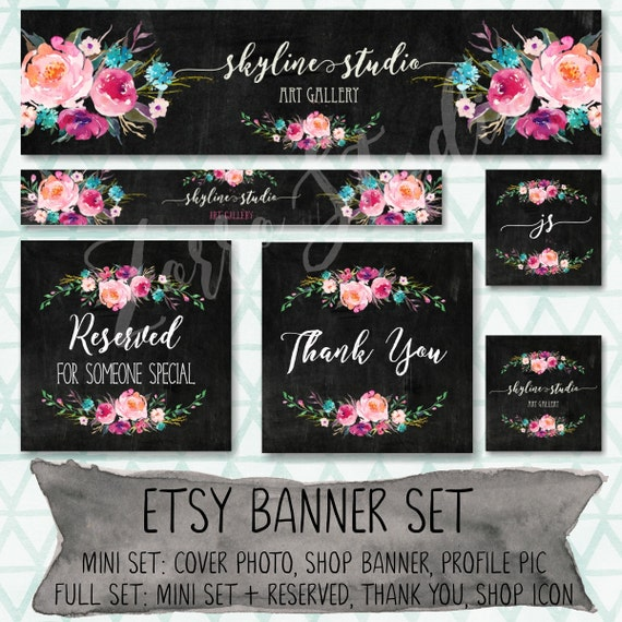 Etsy Banner Set Rustic Floral Peonies Black Watercolor Facebook Timeline Cover Business Card Premade Store Graphics Branding