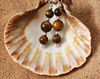 Tiger Eye Earrings | Tiger Eye Jewellery For Women | Everyday Earrings | Brown Drop Earrings | Tiger Eye Gemstone Jewellery | A0133