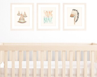 Nursery Art Tribal Theme, Baby Boy Nursery Set of 3 8x10 / A4 Prints, Watercolour Illustration of Teepees, Indian Headdress and Brave Quote