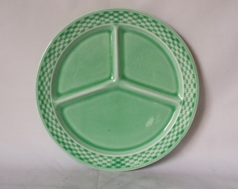 "1930's W.S. George Green Basketweave Divided Dish Plate 10""  1930-1938"