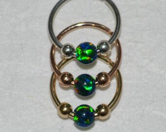 Silver Septum Ring 3mm Opal - Septum Piercing 20 gauge - Nose Ring Hoop - Tragus Jewelry - Daith Piercing - Forward Helix Earring