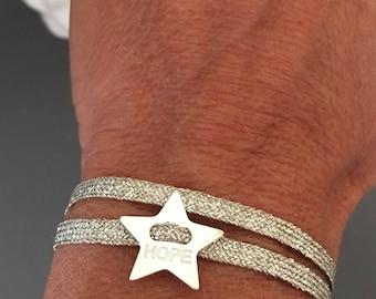 beige sparkly Ribbon Bracelet and Hope star 925 sterling silver