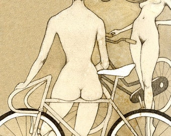 BIKE BOOTY 8x10 (Giclée Print of Original Gouache + Coffee + Pencil Drawing)