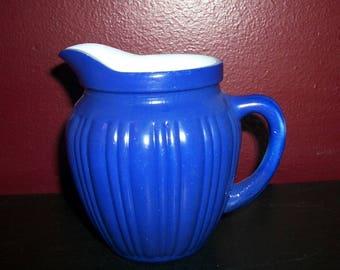 "Vintage Hazel Atlas ""Gay Rainbow"" Cream Pitcher in Cobalt Blue"