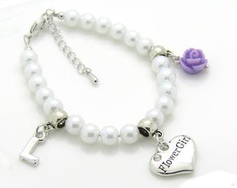 Pearl bracelet with flower girl charm, flower girl charm bracelet personalized kids wedding gift flower girl jewelry flower girl gift kids