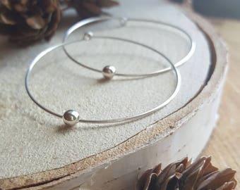 Minimalist Hoops, Sterling Silver Hoops, Simple, Modern Earrings, Silver Earrings, Large Hoops, Bead Hoops