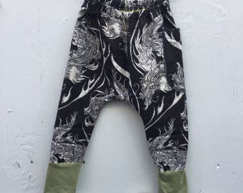 2-3T Lined Snake pants Green Cuffs