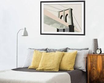 Brooklyn Bridge Art Print by Green Lili. New York Art Print. Brooklyn Bridge Print.  Wall Art. NYC  Gift Landmarks Gift. Wall Decor.
