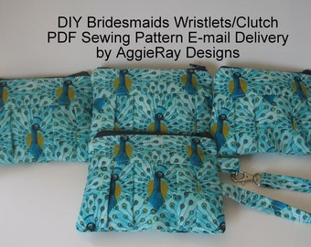 INSTANT DOWLOAD diy Wedding Bridesmaid Tutorial PDF Sewing Pattern Wristlet Clutch Zipper Pouch:  Aggie Clutch Wristlet 3 Sizes