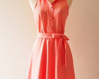 DOWNTOWN Swing Dance Dress Henley Dress Coral Dress Light Coral Color Blooming Dahlia Dress Casual Fit and Flare Summer Dress