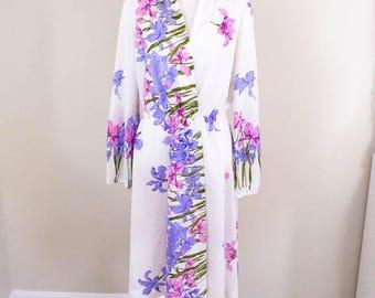 Dreamy 70s Pink and Purple Floral Dress - MED - Vintage Bridal Robe - Vintage Robe - 70s Dress - Vintage Lingerie - Sheer Dress - Boho Dress