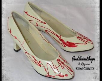 BLOODY BRIDE SHOES Blood Splattered Heels Bridal Shoe Halloween Bride Size 9W