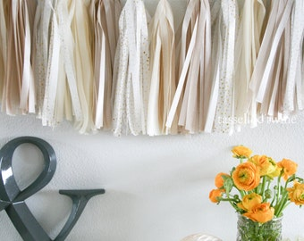 NEUTRAL SPARKLE tassel garland party decoration