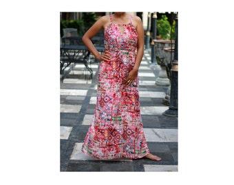 Red Dress/ Abstract Maxi dresses/ Sundress/ Summer Dresses/ Red Maxi Dresses
