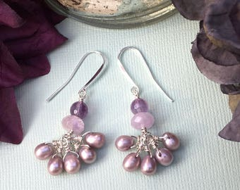 Freshwater Pearl Amethyst Earrings