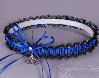Thin Blue Line Police Officer Lace Wedding Garter in Royal Blue and Black Lace with Swarovski Crystal and Handcuff Charm
