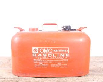 Vintage OMC Accessories 6 gallon Portable Metal Fuel Gas Tank / Orange Antique Gas Can / Large Metal Garage Decor / Automotive Collectible