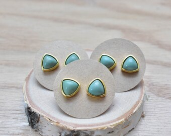 Gold Triangle Green Turquoise Stud Earrings/ Gold Stud Post Earrings Natural Green Grey Turquoise/ Natural Turquoise Green Gold (GSL13-TQ)