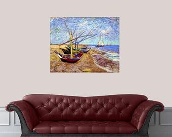 FISHING BOATS On The BEACH Van Gogh Print Van Gogh Art Print Vintage Art Prints Art Prints Vintage Prints Reproduction Prints Reproduction
