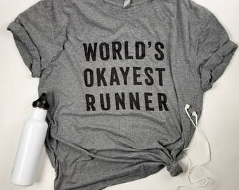 World's Okayest Runner T-Shirt | Heather Grey Shirt