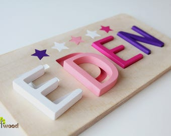Baby girl gifts etsy wooden name puzzle baby gifts educational toy 1st birthday gift baptism gift negle Images