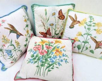 Vintage Pillows | 1960s Pillows | Decorative Pillows | Pastel Accent Pillows | Throw Pillows | Sofa Pillows | Hummingbirds | Set of 4