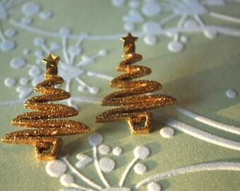 Christmas Tree Earrings -- Christmas Tree Studs, Gold Pine Tree Earrings, Xmas Earrings