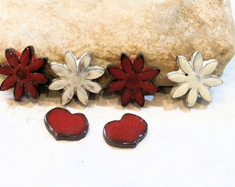 spring and love - for scrapbooking or jewel creation - 6 cabs - red, white - ceramic earthy romantic supply DIY
