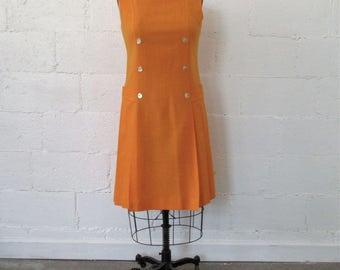 1960s Orange Drop Waist Dress // 60s Tangerine Drop Waist Dress // Vintage Drop Waist Pleated Skirt Dress