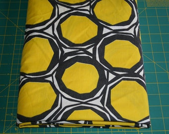 Vintage reclaimed bed sheet linen Fabric Mod modern geometric Funky circles golden yellow and black Honey Comb design perfect for quilting