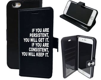 Persistence and Consistence Motivational Gym Quote  - Magnetic Wallet Card Holder Flip Cover Case for Sony M4 Aqua M5 XA XA1