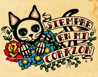 Day of the Dead CAT Dia de los Muertos Art Print 5 x 7, 8 x 10 or 11 x 14 - Donation to Austin Pets Alive