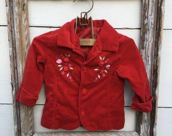Vintage red velvet embroidered  jacket for little girls, red jacket girls (2T)